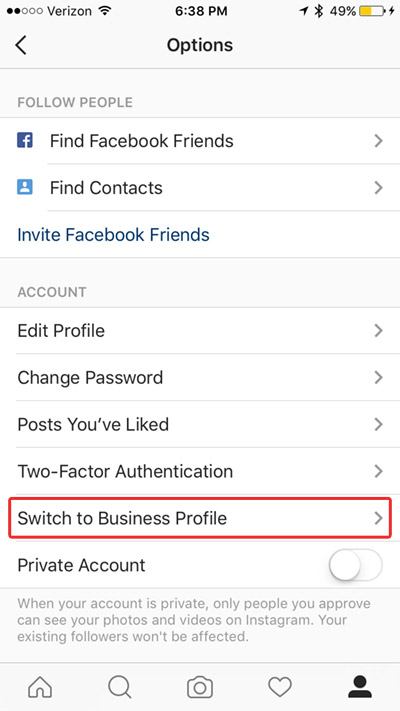 switch to business profile